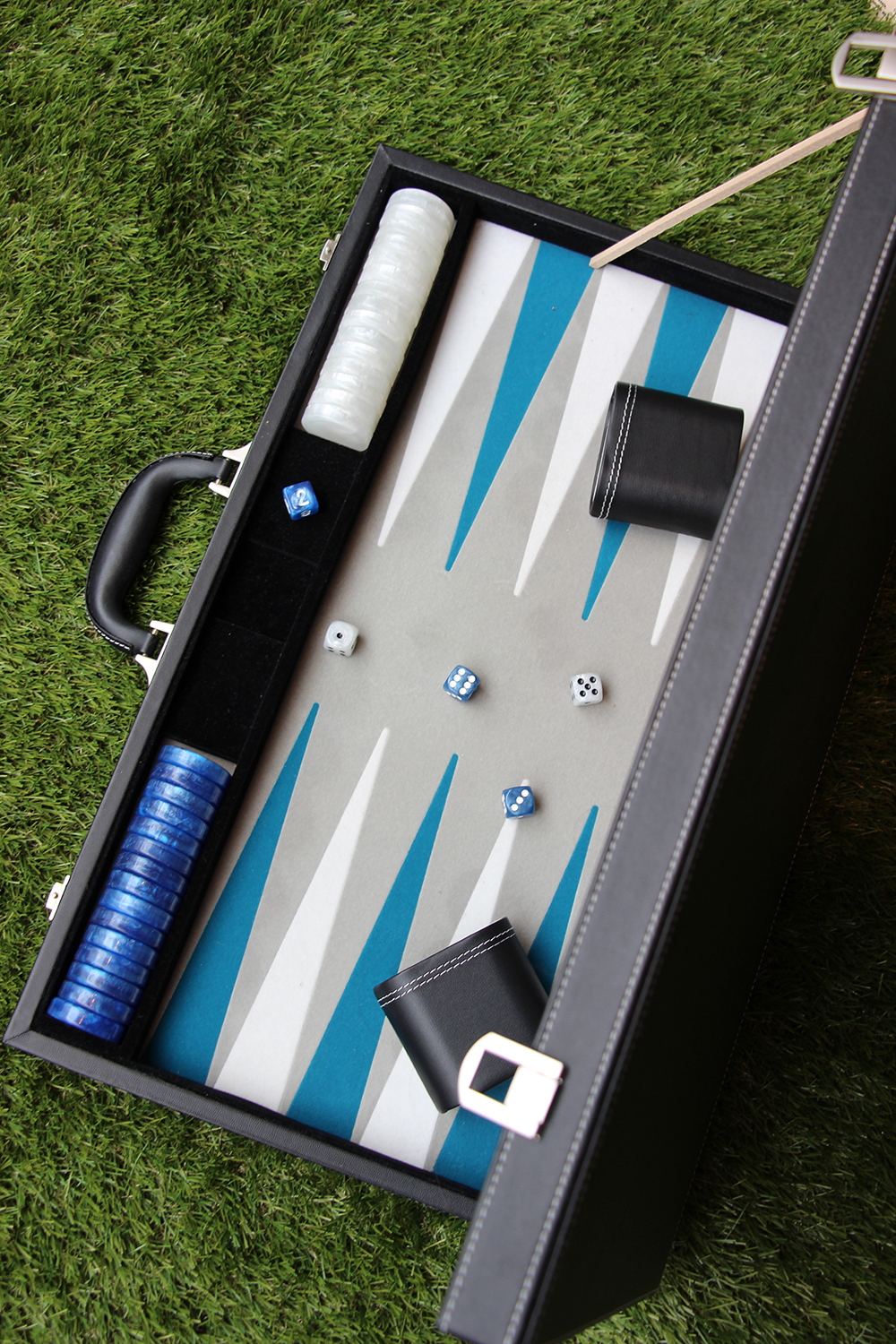 Backgammon bleu & blanc
